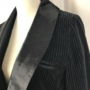 VINTAGE Espresso Black Velvet Tuxedo Jacket